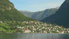 Norway Aurlandsfjord village houses s Stock Footage