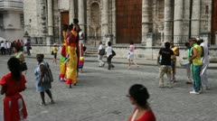 Stilt Walkers In Havana Cuba Stock Footage