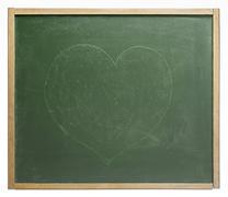 blackboard with painted heart shape - stock photo
