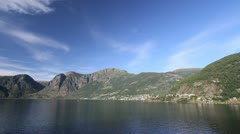 Norway blue sky over a village by Aurlandsfjord c Stock Footage