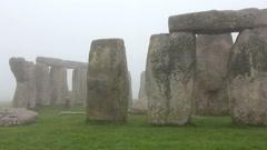 People near Stonehenge, England Stock Footage