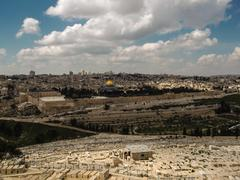 panorama of the temple mount, including al-aqsa mosque, and dome of the rock, - stock photo