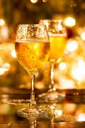 Two champagne glasses ready to bring in the new year Stock Photos