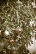 vintage decorated christmas tree - stock photo