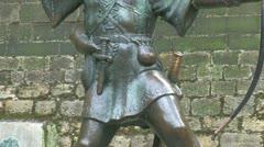 Robin Hood Statue Stock Footage