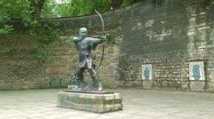 Nottingham Robin Hood Statue - stock footage