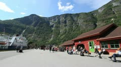 Norway Flam railroad station c Stock Footage