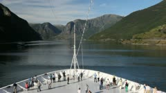 Norway tourists on a ship in Aurlandsfjord c Stock Footage