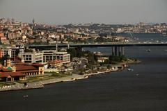 view of the golden horn from pierre loti hill - stock photo