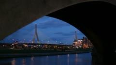 Boston zakim through bridge Stock Footage
