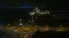 Museum of Islamic Art and traffic car by night, Doha, Qatar Stock Footage