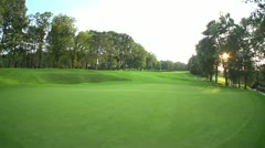 Golf course hole overview beauty Stock Footage