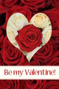 be my valentine - rose heart card - stock photo