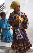 Tarahumara( Rarumuri) Native Indian Girl Sells Purses - stock photo