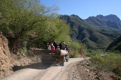 Tarahumara( Rarumuri) Native Indians in Copper Canyon Mexico heading into Urique Stock Photos