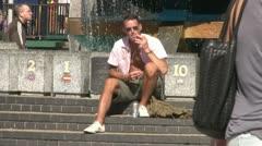 Smoker in Sun Stock Footage