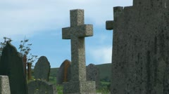 Old Stone Gravestones Stock Footage