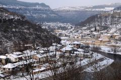 veliko tarnovo in the winter - stock photo