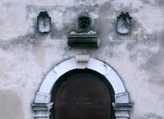 part of medieval entrance - stock photo