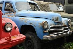vintage rusty cars in the museum - stock photo