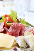 tray of cold cuts - stock photo