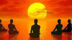 Sunset meditation - 3D render - stock footage