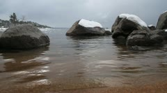 Frozen rocks, Lake Tahoe shore Stock Footage