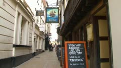 Pub in Narrow Alley Stock Footage