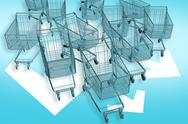 Shopping carts attacks Stock Illustration