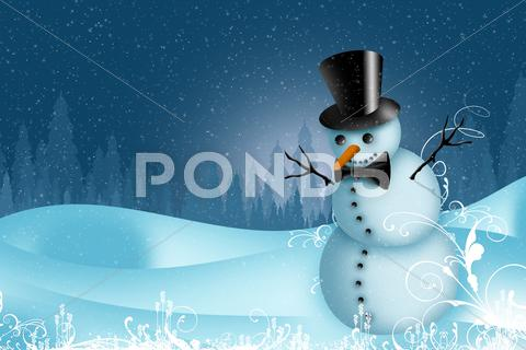 Stock Illustration of holiday snowman postcard