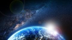 Stock Illustration of earth sunrise and milky way
