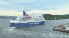 Oslo Seaways ferry leaves Stock Footage