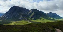 panoramic buachaille etive mor - stock photo