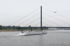 Stock Photo of river rhine scenery in duesseldorf