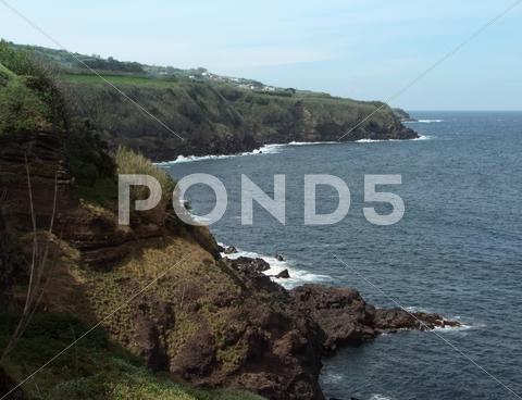 Stock photo of cliffy coastal scenery at the azores