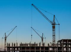 construction of residential buildings - stock photo