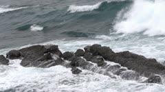 Sea waves against rocks Stock Footage