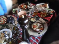 Hearty skiers savoyard lunch Stock Photos