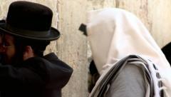 Jew Prays at the Western Wall - Jerusalem Stock Footage