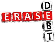 3d erase debt crossword Stock Illustration