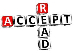 3d accept read crossword Stock Illustration