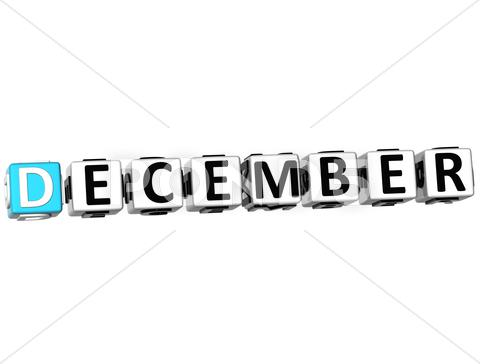 Stock Illustration of 3d december block text