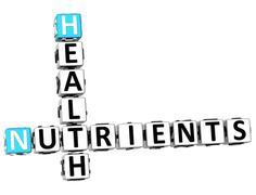 3d health nutrients crossword - stock illustration