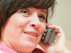telephone conversation - stock photo