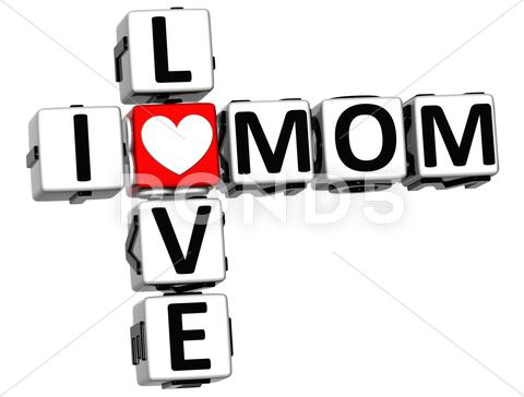 Stock Illustration of 3d i love mom crossword block text