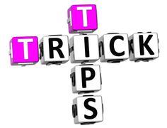 3d trick tips crossword - stock illustration