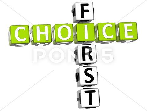 Stock Illustration of 3d first choice crossword