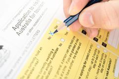 filling no in checkbox of questionnaire - stock photo