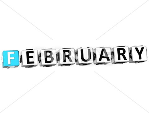 Stock Illustration of 3d february block text