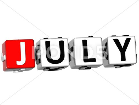 Stock Illustration of 3d july block text